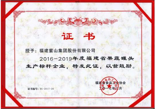 2016-2019 Fujian fruit and vegetable canned production benchmarking enterprise