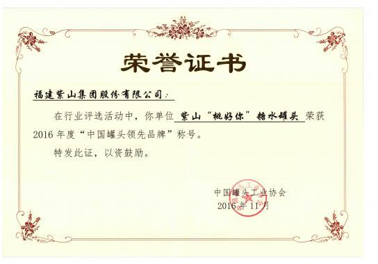 桃好你糖水黄桃罐头荣获2016年度中国罐头领先品牌